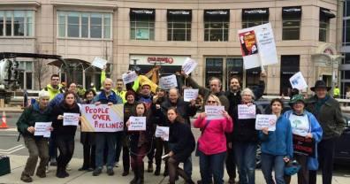 Vigil opposing opposing back bay pipeline