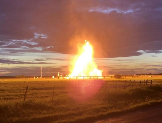 Karnes County gas fire