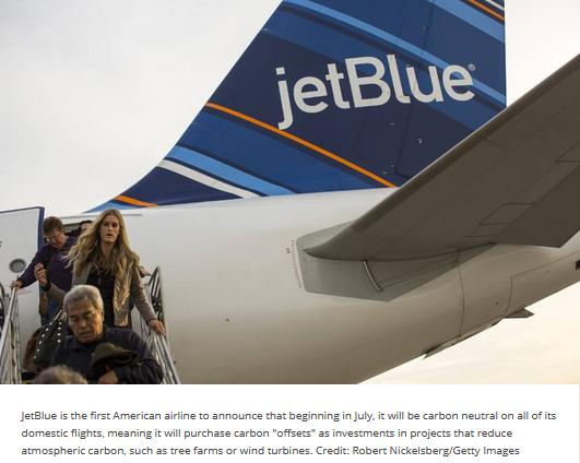 Jet Blue offsets